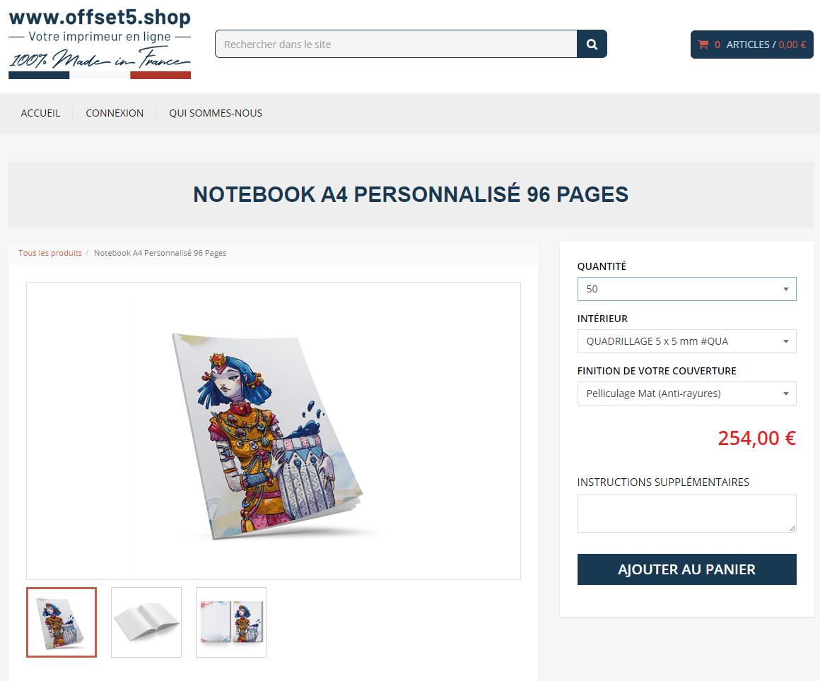 Cahier personnalisé - Interface Offset5.shop