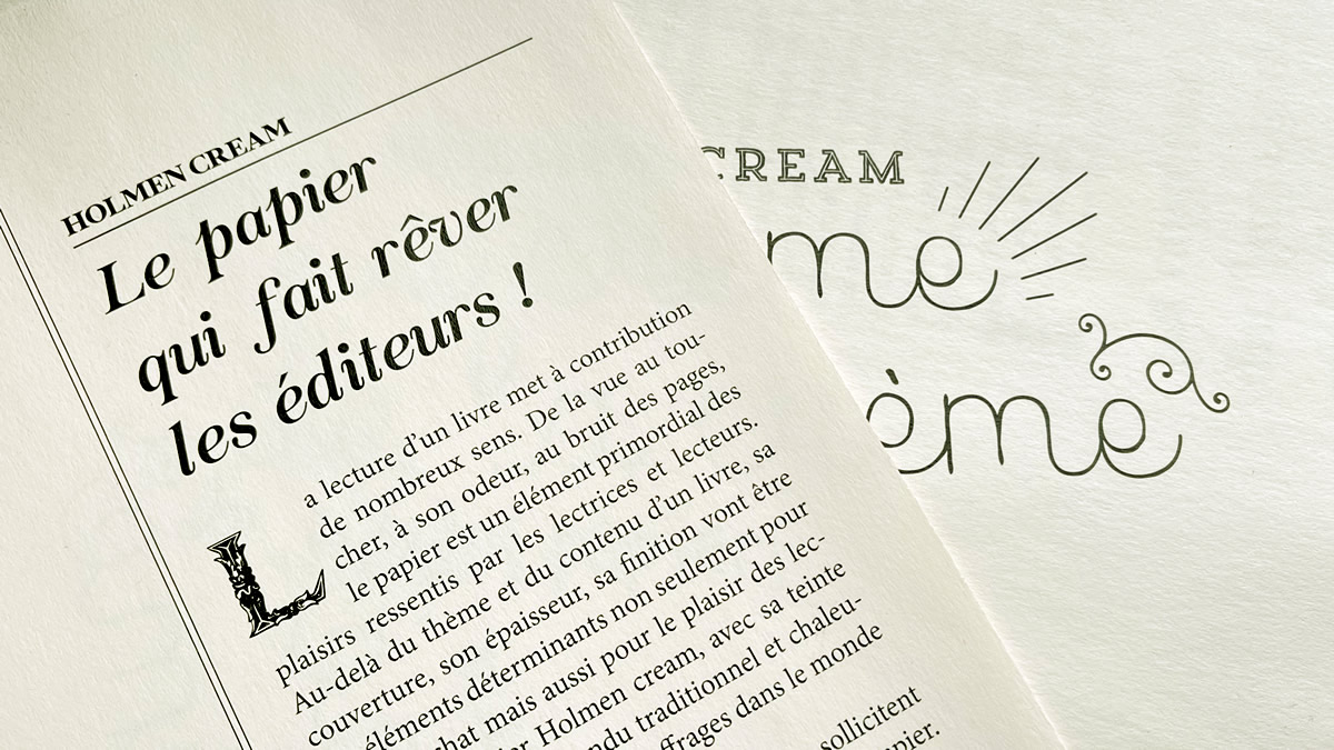 Papier bouffant Holmen Cream pour livre et ouvrage